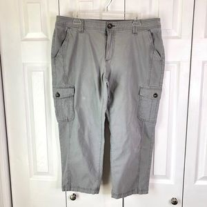 Eddie Bauer Light Gray Cargo Cropped Pants 16W